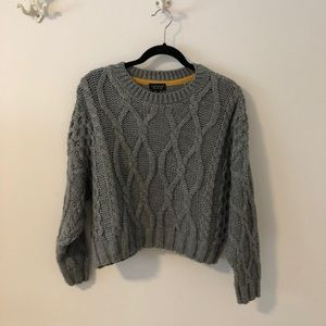 Topshop Cableknit Cropped Sweater